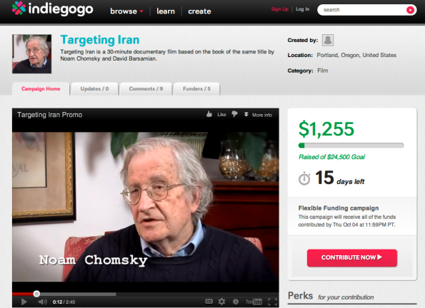 Help support creation of documentary on book about Iran by Noam Chomsky and David Barsamian